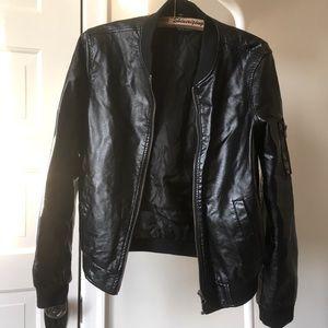 2/$40 Faux Leather bomber jacket medium black rock